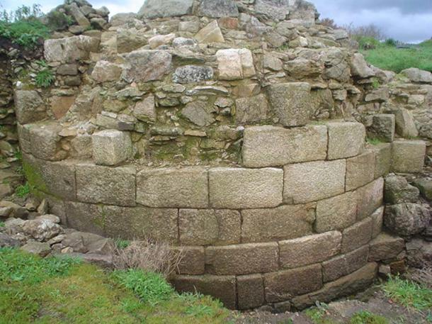 Base of a tower at the Castle of Rocha Forte, Galicia, Spain.