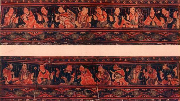 Cesta de Lo-lang, una región de la dinastía Han. Paragones de piedad filial, obras de arte chino pintadas sobre una caja de cestería lacada. Fue excavado en una tumba Han del Este de lo que fue la Comandancia Lelang China en lo que ahora es Corea del Norte. Cada una de las figuras mide unos 5 cm de altura. Ahora se encuentra en el Museo Nacional de Seúl. (Dominio público)