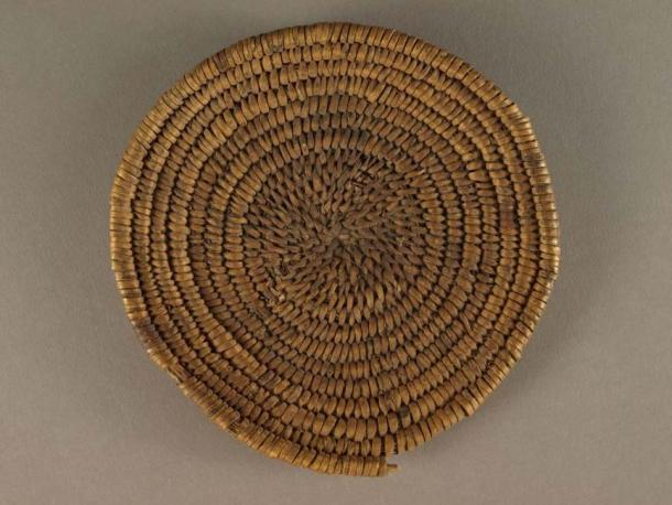 "Basketmaker II ""two rod and bundle"" basket (ca 1 to 700 AD), Zion National Park. (Public Domain)"
