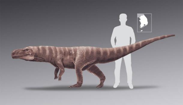 Batrachopus trackmaker to human scale. ( Anthony Romilio, The University of Queensland, Brisbane, Australia / Nature)