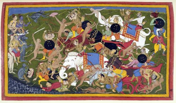Battle at Lanka, Ramayana, by Sahib Din. Battle between the armies of Rama and the King of Lanka. Udaipur, 1649-1653. (Public Domain)