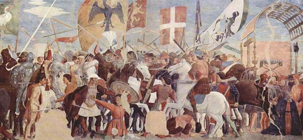 Battle between Heraclius' army and Persians under Khosrau II. Fresco by Piero della Francesca, c. 1452.