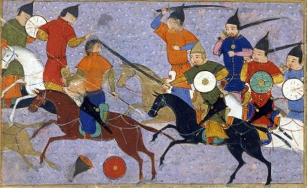 Battle between Mongol warriors and the Chinese