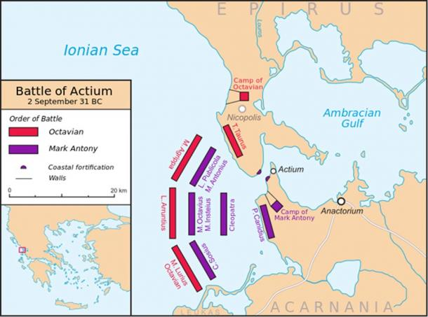 Map of the Battle of Actium.