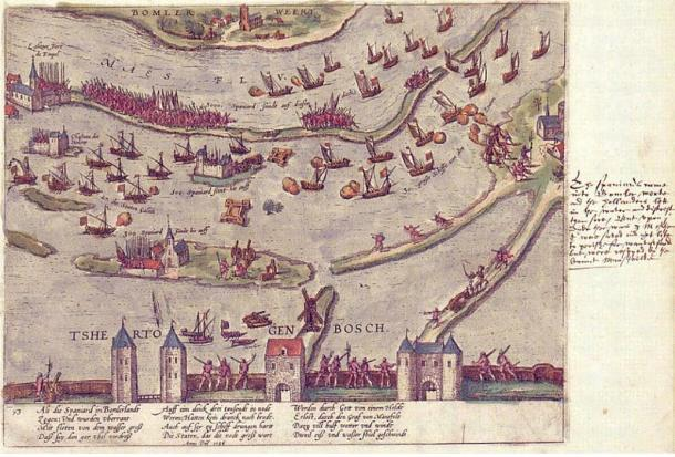 Interpretation of the Battle of Empel by Georg Braun and Frans Hogenberg.