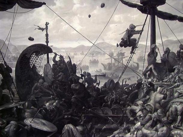 The Battle of Hafrsfjord by Ole Peter Hansen Balling, 1870.