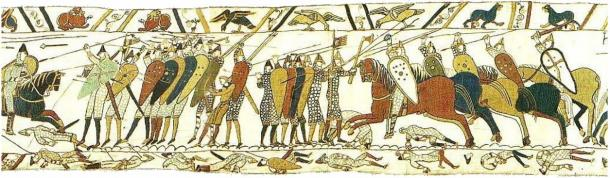 The Battle of Hastings as depicted on the Bayeux Tapestry.