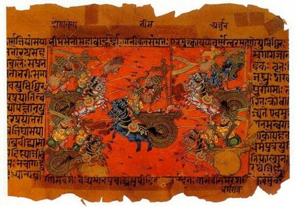 The Battle of Kurukshetra, fought between the Kauravas and the Pandavas, recorded in the Mahabharata