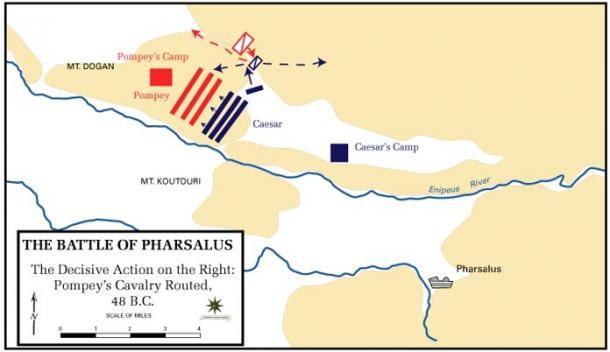 Mark Antony commanded the left wing of Caesar's army at the Battle of Pharsalus, the decisive battle of Caesar's civil war
