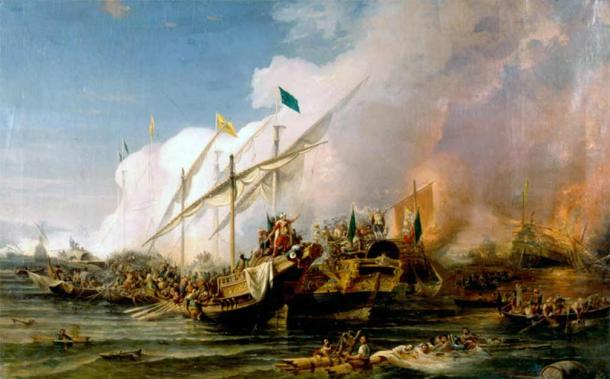 """The """"Battle of Preveza"""" (1538) by Ohannes Umed Behzad, painted in 1866. In this battle, the Ottomans scored one of their biggest victories against the European powers. (Ohannes Umed Behzad / Public domain)"""