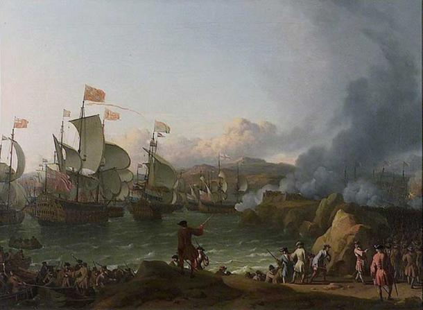 'The Battle of Vigo Bay' a naval engagement fought on 23 October 1702 during the opening years of the War of the Spanish Succession. By Ludolf Bakhuizen.