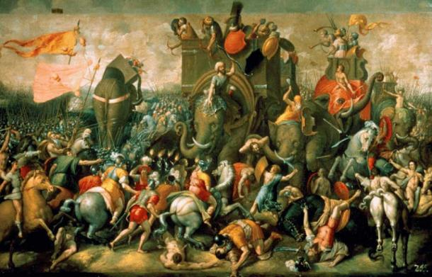 Battle of Zama in Second Punic War, Giulio Romano 1521.