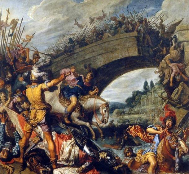 Schlacht bei der Milvischen Brücke by Pieter Lastman. (1613). Maxentius was killed and the Praetorian Guards were defeated at the Battle of the Milvian Bridge in 312 AD.