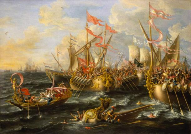 The Battle of Actium in the war against Cleopatra and Antony. (Alonso de Mendoza / Public Domain)