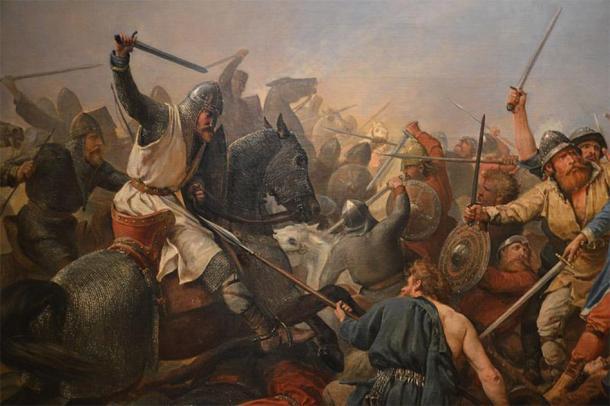 "Detail of ""The Battle of Stamford Bridge"", Peter Nicholai Arbo, 1870. (Public Domain)"