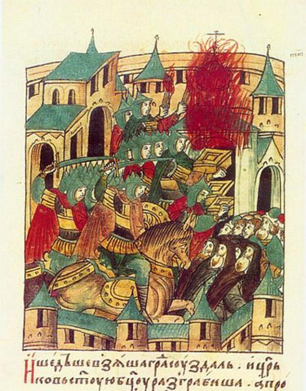 Batu Khan's army sacking the city of Suzdal in 1238 in Russia