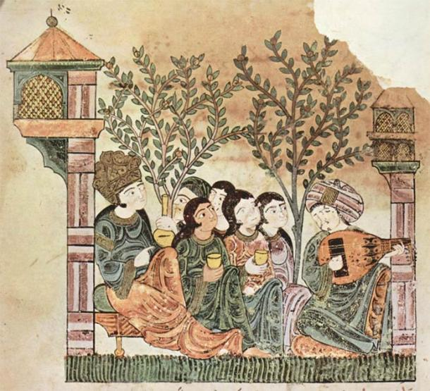 """""""Bayad plays the oud to the lady"""", Arabic manuscript for 'Qissat Bayad wa Reyad' tale (late 12th century). (Public Domain)"""