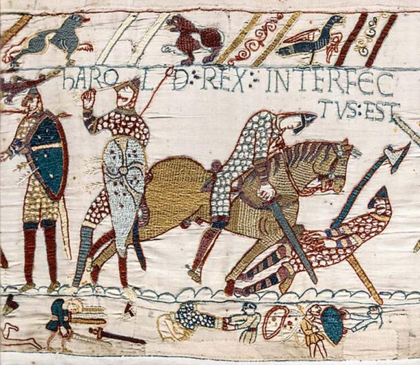 "Bayeux Tapestry Scene 57: Harold's death. Legend above: Harold rex interfectus est, ""King Harold is killed."" (Public Domain)"