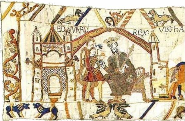 Bayeux Tapestry Scene 1 shows King Edward.
