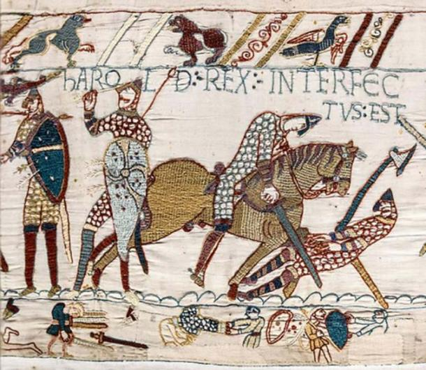 Bayeux Tapestry - Scene 57: the death of King Harold at the Battle of Hastings. (Public Domain)