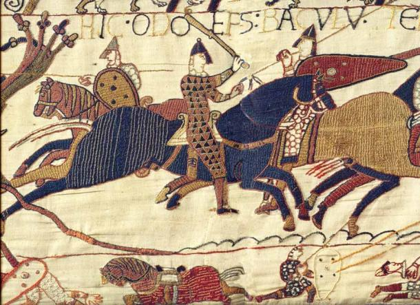 In the Bayeux Tapestry Odo of Bayeux is depicted as an active participant in the Battle of Hastings, as seen here in the detail of him in full armor, on a horse, with a club raised high. (Public domain)