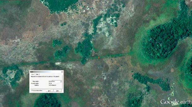 Baylands off the coast of Campeche, Yucatan Mexico, show the remains of a Sacbe and partially hidden Maya ruin. (Photo courtesy of Angela Micol, Satellite Archeaology).