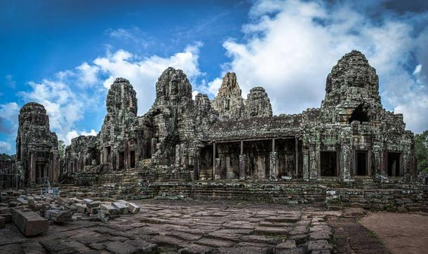 The ancient, beautiful Bayon Temple.