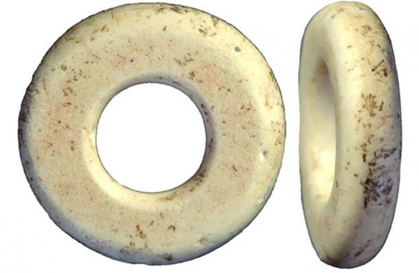 Beads found inside Denisova Cave in the Altai mountains.