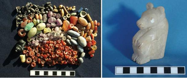 Left: Beads from the cache found beneath a residential building at Tell Brak of the mid-4th millennium BC. Right: Alabaster bear figurine, height 9 cm, mid-4th millennium BC. Traces of red and black pigment survive on the head and claws.
