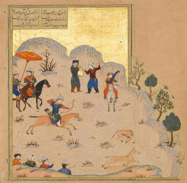 Beautiful depiction of the Sasanians, here we can see Bahram Gur's Skill with the Bow, C 1430, artist Maulana Azhar,public domain image from the Met Museum.