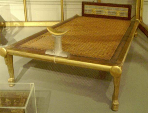 Bed with headrest from the funerary furniture of Hetepheres I. Reconstruction of original on display in Cairo, this copy resides in the Museum of Fine Arts, Boston.