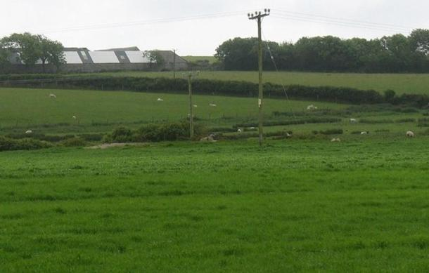 The site of Bedd Branwen. It was dismantled by a local farmer around 1813, however later excavations at the site led to the finding of a number of cremation vessels.