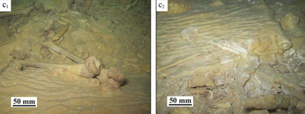 Before and after looting at the cave site in Mexico. (Stinnesbeck et al) Only about 10% of the skeleton remained on site, including the pelvis covered by stalagmite.
