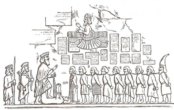 Sketch showing details of Darius I the Great's Behistun Inscription revealing the fate of those who rebelled against Darius' rule.