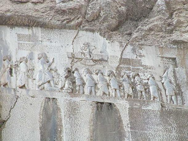 Behistun Inscription, cuneiform text describing conquests of Darius the Great. These reliefs and texts are engraved in a cliff on Mount Behistun (present Kermanshah Province, Iran).