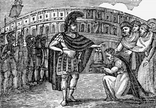 Wood cutting of Belisarius refusing the Goths' offer for the crown of Italy (1830)