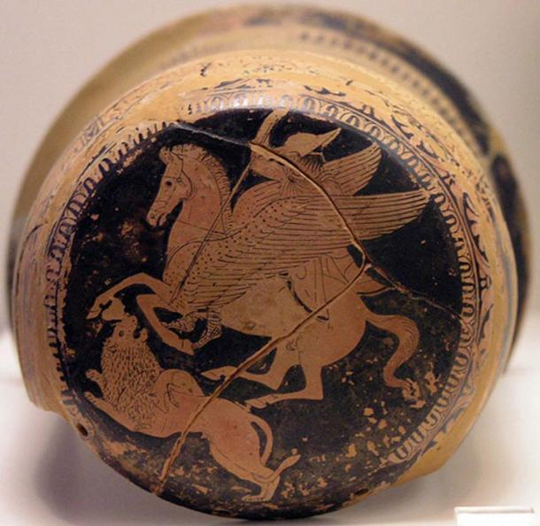Bellerophon on Pegasus spears the Chimera, on an Attic red-figure epinetron, 425–420 BC.