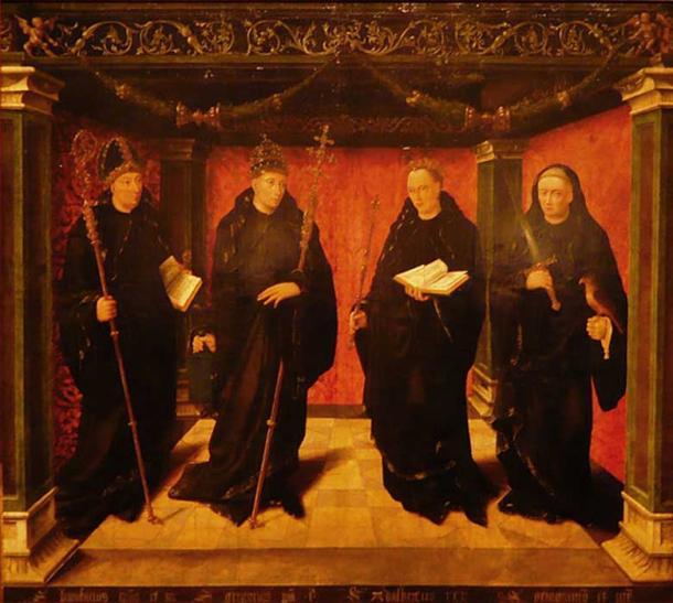 The Benedictine saints Bonifatius, Gregorius the Great, Adelbertus of Egmond and priest Jeroen van Noordwijk.