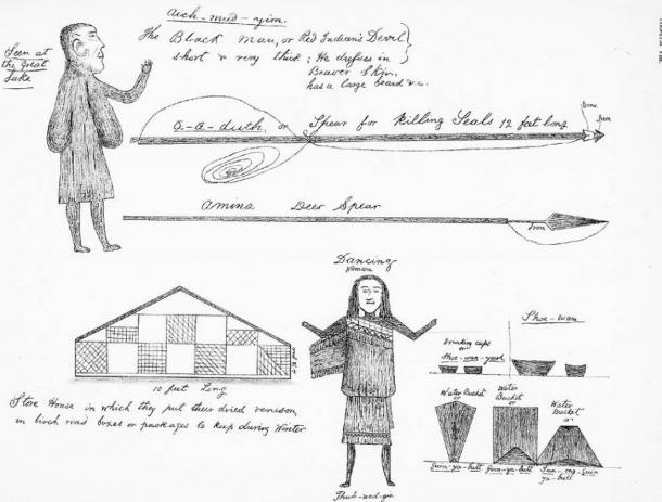 Beothuk drawings by Shanawdithit (the last known member of the Beothuk people) representing a variety of subjects