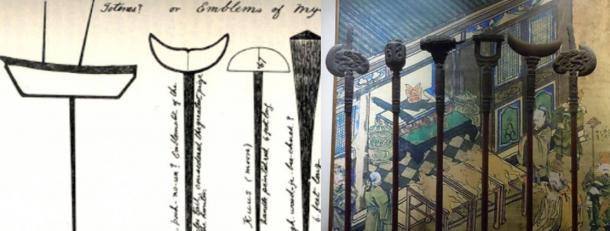Right: Beothuk symbols on poles, Newfoundland Island. Left: Symbols on poles. Confucian museum. Beijing