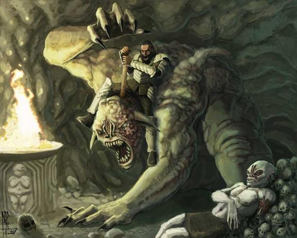 Beowulf fighting Grendel's mother beside Grendel's body.