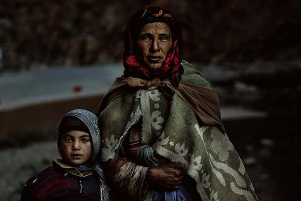 Berber Family. Mother with a child. Taken in Atlas Mountains, Morocco 2013.