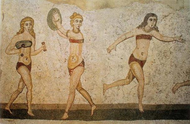 Bikini Girls Mosaic, Villa del Casale, Piazza Armerina, Sicily, Italy. The history of 'bras' goes way back. (Public Domain)