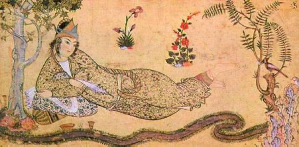 Bilqis reclining in a garden, the Queen of Sheba facing the hoopoe, Solomon's Messenger. (Shakko / Public Domain)