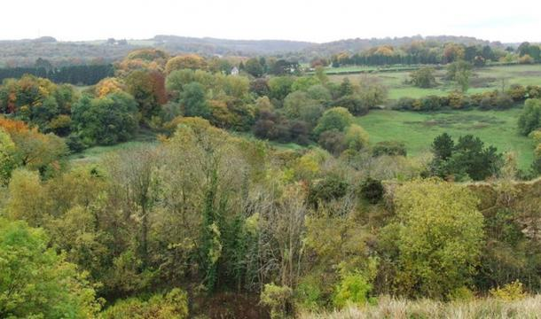 View overlooking Birdlip, Gloucestershire, where three ancient Celtic graves were found that may belong to Queen Boudicca and her two daughters