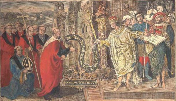 Bishop Wilfrid, Aethelthryth's trusted spiritual advisor, receiving a charter from King Caedwella. (Scanned by Michael Jones from a print by T.King / CC BY 2.5)