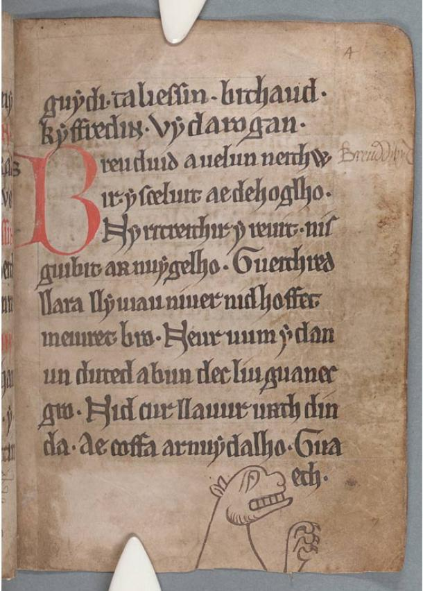 A page from the Black Book of Camarthen