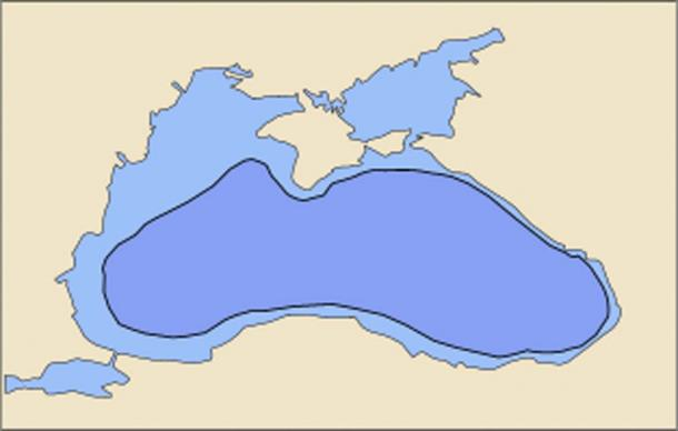 Black Sea today (light blue) and in 5600 BC (dark blue) according to the hypothesis.