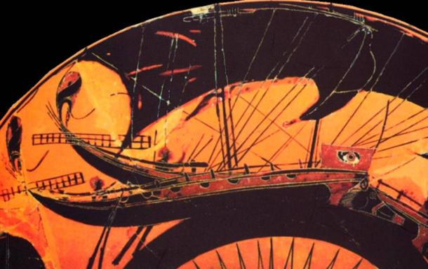 Black-figure terracotta vessel depicting an ancient Greek ship. On the bow, the apotropaic ophthalmos (eye) and the ram (shaped as a wild boar). Some types of miltos were said to be effective in maintaining ships.