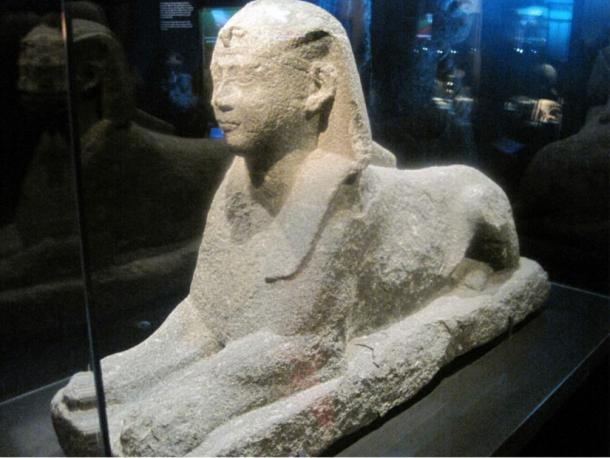 Black granite sphinx made of stone, thought to represent Ptolemy XII, father of Cleopatra. Discovered by Frank Goddio during underwater investigations of underwater ancient Alexandria.